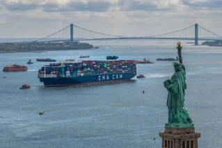 The CMA CGM BRAZIL: the largest container ship to enter the port of New York & New Jersey