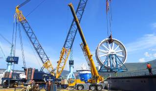 Topside equipment for cable laying ship Nexans Aurora offloaded at Ulstein Verft