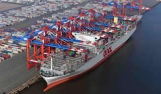 Container ship OOCL Germany docks for the first time at EUROGATE Container Terminal Wilhelmshaven