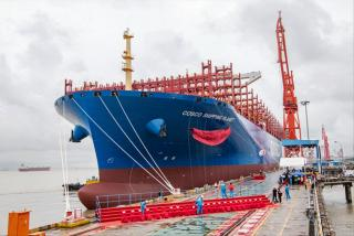 Jiangnan Shipbuilding delivers the last in series of 21000TEU super-large container ships to Cosco Shipping Group