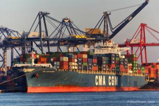 The CMA CGM RACINE is the first vessel to cross the New East Port Said side Channel