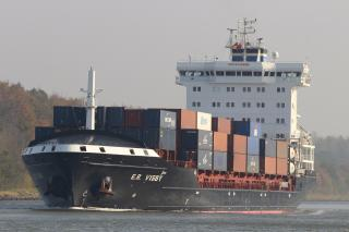 Grounding of containership E.R.Visby blocked Kiel Canal