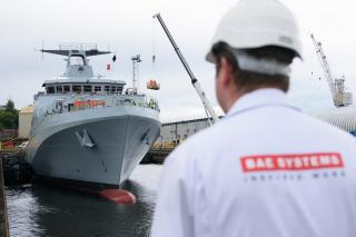 Royal Navy's new offshore patrol vessel lowered into the water (Video)