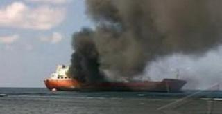 Passenger/ro-ro cargo ship burst into flames in Elefsis port, Greece