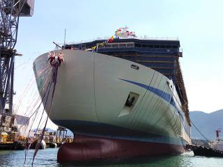 Mitsubishi Shipbuilding Holds Christening and Launch Ceremony for Hankyu Ferry, the First of its Series, in Shimonoseki