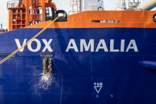 Queen Máxima of the Netherlands christens trailing suction hopper dredger Vox Amalia (Video)