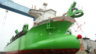 DEME's latest trailing suction hopper dredger Bonny River successfully launched in China