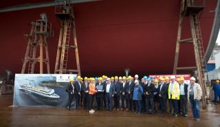 The world's largest plug-in hybrid ship begins to take form
