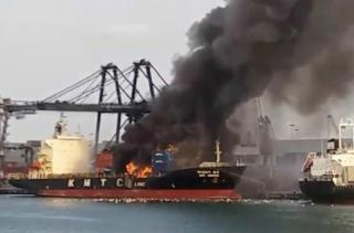 Chemical cargo on board KMTC Hong Kong catches fire in Thai port, three piers closed (Video)