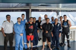 Container ship Mathilde Maersk rescues stranded fishermen