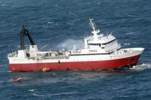 Fishing ship is still on Fire Off New Zealand's South Island