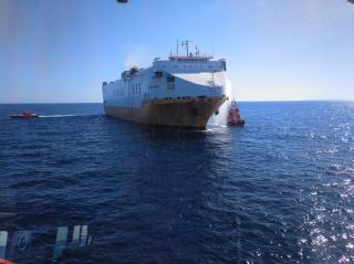 Fire hits vehicle carrier Grande Europa carrying 1,800 cars off Spanish island of Majorca