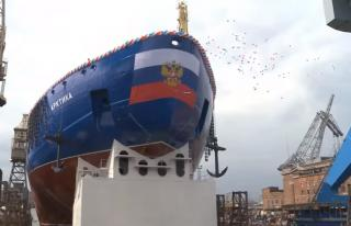 World's largest nuclear icebreaker made from MMK metal floats out (Video)