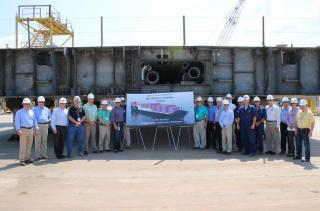 Crowley lays keel for 2nd LNG-Powered ConRo