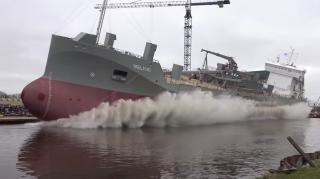 Cement Carrier Ireland launched at Ferus Smit Shipyard (Video)