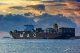Container ship MSC CLORINDA runs aground in Suez Canal
