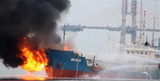 Tanker explosion and fire at Port Hai Phong, Vietnam
