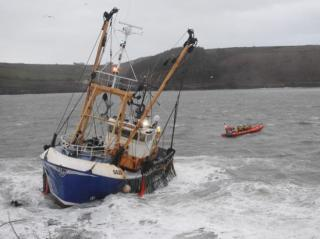 Kinsale RNLI rescue three fishermen from sinking trawler in storm conditions (Video)