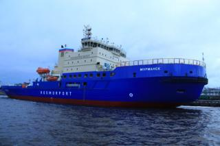 Icebreaker Murmansk project 21900M delivered to the customer at Vyborg Shipyard