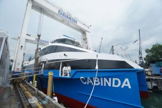 Fast Ferry for Angolan Transport Ministry launched at Damen Shipyards Singapore