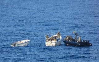 EU NAVFOR's Italian ship Virginio Fasan chases and captures suspected pirates