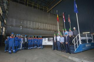 Damen hosts keel-laying celebration for Hanson's Marine Aggregate Dredger