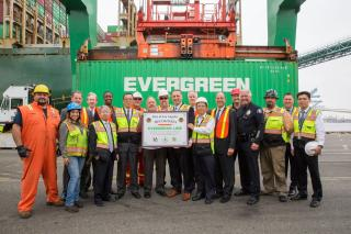 Evergreen's EVER Sigma delivers Port of LA' 9 millionth TEU, setting a new 12-month container throughput record