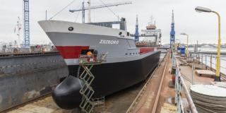 Cargo ship ZILTBORG provided with WAGENBORG Colours