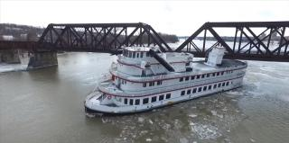 WATCH: Seven vessels broke free from their moorings on the Hudson River near Albany, New York