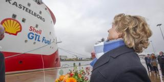 Walk to work vessel Kasteelborg christened in port of Den Helder
