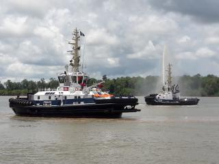 De Boer holds naming ceremony for Damen RSD WID Tug 2915 Hybrid 'Fregate' and ASD Tug 2310 SD 'Papillon'