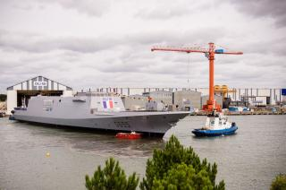 French Navy's new FREMM frigate Bretagne floated out