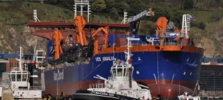 Van Oord Launches Trailing Suction Hopper Dredger Vox Amalia at the LaNaval shipyard in Bilbao, Spain