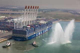 18,000 TEU CMA CGM Bougainville inaugurated in Le Havre, France