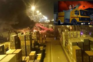 Container ship COSCO HOPE allided with crane in Port Said; 20 plus containers destroyed by fire