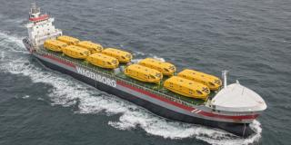 Spotted: Wagenborg cargo ship Vancouverborg delivers 20 lifeboats for newbuild cruise ship