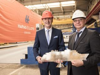 HANSEATIC inspiration steel cut: Hapag-Lloyd Cruises celebrates the start of the construction of its second, new-build expedition ship