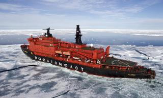 "The nuclear icebreaker ""50 Let Pobedy"" (50 Years of Victory) sails off for a memorable expedition to the North Pole"