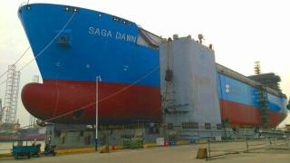 Spotted: FKAB LNT 45 LNG vessel for Saga LNG Shipping launched