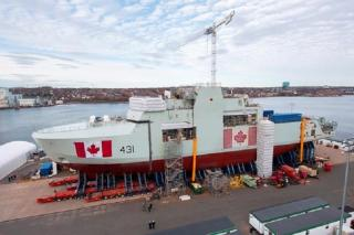 Canada's second Arctic and Offshore Patrol Ship structurally assembled at Halifax Shipyard