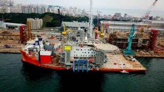 Dockwise heavy-load carrier White Marlin loaded with Aasta Hansteen topside begun its journey from Ulsan to Norway