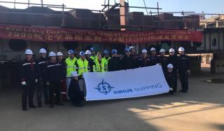 Keel laying ceremony held at AVIC Dingheng shipyard for Sirius Shipping's first of two Evolution vessels