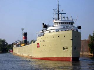 Freighter Alpena heavily damaged by fire in Sturgeon Bay, Wis, U.S.