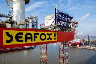 Jack-up vessel Seafox 5 departs Damen Verolme Rotterdam ready for the next generation of wind turbines