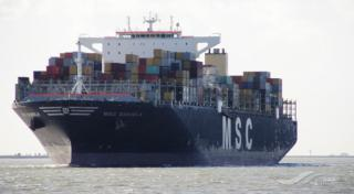 Fire erupts on board container ship MSC Daniela this morning off Colombo, Sri Lanka