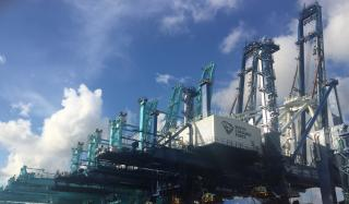 One of the two new cranes damaged at Port of Charleston