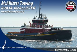 Eastern Shipbuilding Delivers Escort-Rescue Z-Drive Tug AVA M. McALLISTER to McAllister Towing