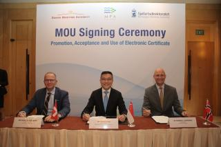 Danish, Norwegian and Singapore Maritime Authorities Sign Memorandum of Understanding on use of E-Certificates