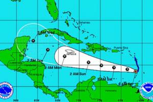 Scattered Carnival and Disney Cruises by the Ernesto tropical Storm
