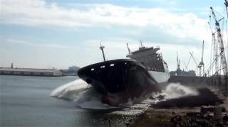 Crowley's Newest LNG-Fueled ConRo Ship, Taíno, Launched at VT Halter Marine (Video)